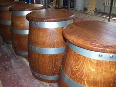1058 - Sgabelli a fungo da tronco di botte in rovere usata