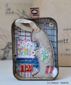 hens teeth : Bunny in a tin artwork