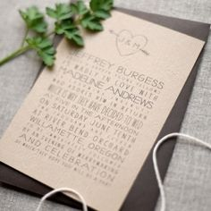 These eco-friendly faux bois invitations would be perfect for an outdoor wedding.