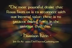 """The most powerful desire that flows from us is to reconnect with our internal value: there is no greater driving force in the universe than this.""    #HarrisonKlein"