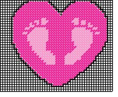 FOOTPRINTS IN PINK HEART by VALERIE BREWER