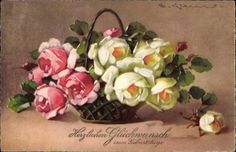 -postally used 1931..Artist Postcard Klein, Catharina, Glückwunsch Geburtstag, Blumenkorb, Rosen