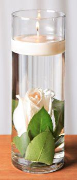 roses in hurricane water glass - B