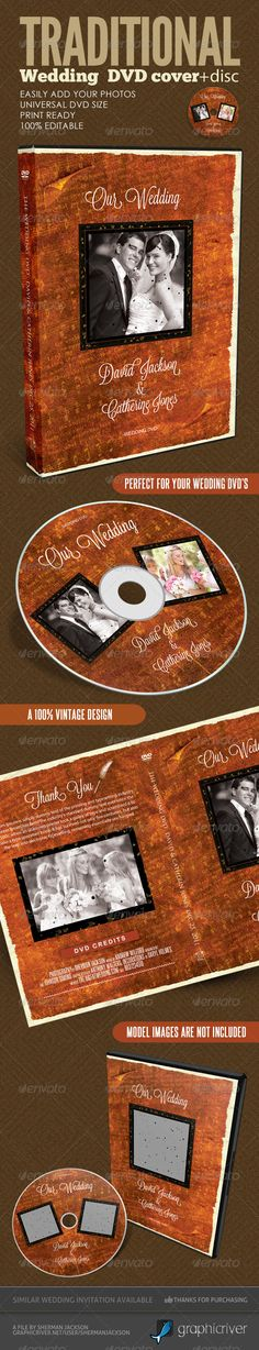 A creative vintage wedding dvd cover and disc label artwork. It's your best choice if you are looking for a vintage or retro theme. The DVD is creatively designed and unique to what you would see elsewhere. $5.00