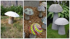 How To Make Awesome Concrete Mushrooms Like yard decor that's a little differe. How To Make Awesom Concrete Garden Statues, Concrete Garden Ornaments, Concrete Yard, Cement Garden, Mosaic Garden, Outdoor Garden Statues, Garden Crafts, Diy Garden Decor, Garden Projects