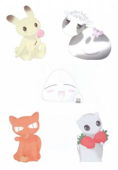 Rabbit, Cow, Cat, Rat and Onigiri