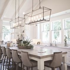 Best Farmhouse Dining Room Lighting Ideas – My Life Spot Kitchen Lighting Over Table, Modern Kitchen Lighting, Kitchen Lighting Fixtures, Dinning Room Light Fixture, Kitchen Chandelier, Dinning Room Lights, Dining Room Chandeliers, Cage Light Fixture, Lights Over Dining Table