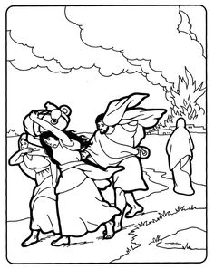 Lot and his family run from Sodom; Lot's wife is turned to salt    Bible coloring page