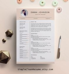 Creative Resume Template, Creative Resume Design, Resume Template Word,  Resume Cover Letter, Resume Template Nurse, PC Mac Emma Johnson  Free Word Resume Templates