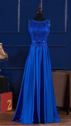 Elegant Prom Dresses,A-line Prom Dresses,Lace Prom Dresses,Blue Prom Dresses - Bridesmaids' & Formal Dresses Royal Blue Prom Dresses, Blue Evening Dresses, Elegant Prom Dresses, A Line Prom Dresses, Trendy Dresses, Blue Dresses, Beautiful Dresses, Fashion Dresses, Formal Dresses