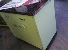 Island made with repurposed kitchen cabinet.