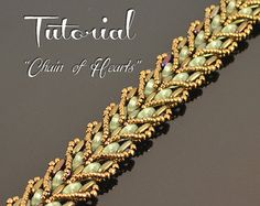 Leafy beading pattern beaded bracelet earrings by BeadedTreasury