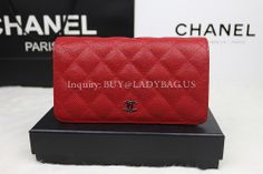 Chanel A31509 Long Bi-hold Wallet in Quilted Grained Calfskin USD205 buy@ladybag.us  Dimension: 18*10*3 CM