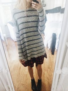 just put on my outfit again for the anon hehe so today i wore free people striped sweater, urban plaid skirt, nomadic store maroon stone necklace, and topshop chelsea's