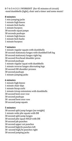 Circuit workout (at home or at gym)