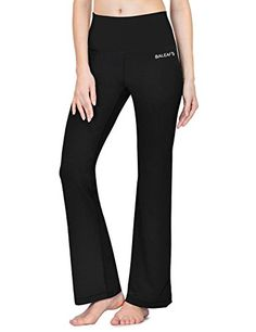Baleaf Womens Fold Over High Waist Lounge Yoga Bootleg Pants Black Size M * You can get additional details at the image link. (Note:Amazon affiliate link)