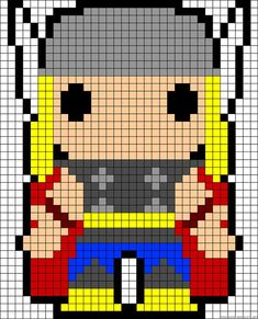 Marvel Thor perler bead pattern cross stitch pattern