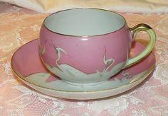 White Egret Demitasse Cup Saucer Set Pink Hand Painted Espresso Set Japan on Etsy, $32.00