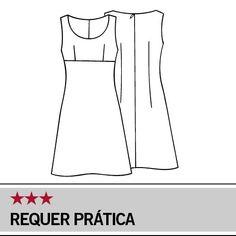 Molde Manequim – Vestido tubinho com decote redondo - Tam. 36/42