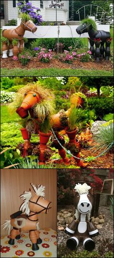 Here's a fun decor idea for your garden... clay pot horses!
