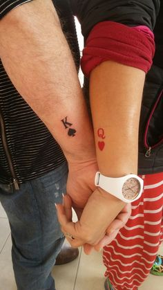 Small couple tattoo King & Queen