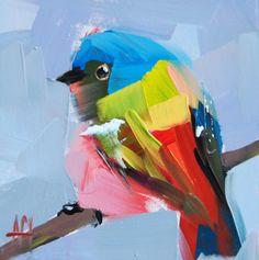 Painted Bunting no. 18 original bird oil painting by prattcreekart, $45.00