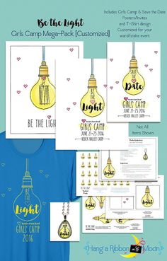 Be the Light: LDS Girls Camp Mega Pack [CUSTOMIZED] Can be customized for your ward/stake! Digital Download includes posters, invites, save the dates, pendant prints, cd cover, tags, theme ideas, decor/food/craft ideas and more!