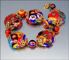 Millefiori glass beads - made in Murano, an island near Venice.
