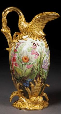 Coalport Factory 1840 I really love the swan spout and handle Thomas Baxter may have painted this one as the flowers are far superior to others ie exact shaped jugs . He was smart rather that been employed by one pottery company.. he bought the blanks from several companies Sadly he died young.