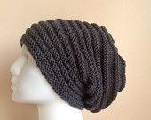 Men Grey Slouchy Knit Hat  - Unisex  Gray Chunky Beanie - Oversize Beret - Fall Winter Fashion