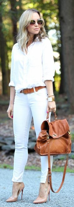 White Chic and Camel Vintage Italian Leather Satch...