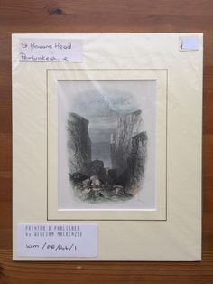 Vintage antiquarian original steel engraving, circa 1835–1850, St. Govan's Head, Pembrokeshire. Vintage antiquarian original engraving for 'Wanderings in South Wales' by Thomas Roscoe. Mounted in passepartout and wrapped in plastic cover.   https://nemb.ly/p/r1L3ngq=e Happily published via Nembol