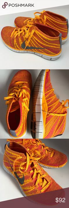 NIKE FLYKNIT CHUKKA ORANGE SHOES These are my ABSOLUTE favorite!! I love the FlyKnits. Extremely comfortable. Great toe room. Accents of grey throughout. (Reflectors) If you love color like me.,, These are for you. Scuffs on the toe. Nike Shoes Sneakers