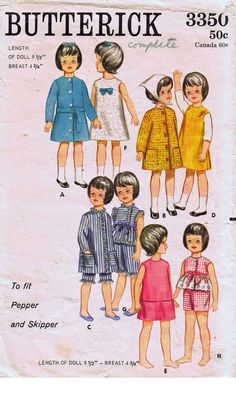 Doll Clothes Original PATTERN 3350 for 9.5 inch Skipper Pepper by Mattel & Ideal