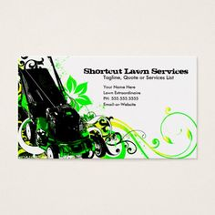 Lawn Service Business Card With Mower Customizable Lawn Service - Lawn care business card templates