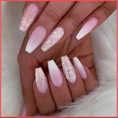 Pink Ombre Nails, Pink Acrylic Nails, Acrylic Nail Designs, Nail Art Designs, Pink Sparkle Nails, Ombre Nail Designs, Pink White Nails, Fancy Nails Designs, Nails Now
