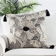 Nikki Chu Omni Rosetti Floral Cotton Throw Pillow Fill Material: Down