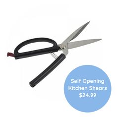 These Self Opening Kitchen Scissors are sprung to automatically reopen after each cut. This design allows strength of whole hand to be used as well as providing comfort with its large ergonomic handle. In Use, Scissors, Loom, Strength, Self, Handle, Kitchen, Design, Cooking