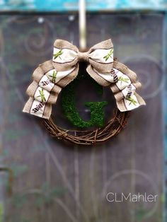 2014 Wreaths Decor Ideas - Rustic burlap Dragonfly Moss monogram ...