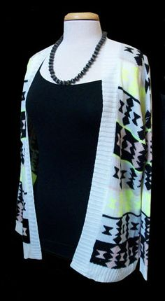 Neon Aztec Cardi this cardi is perfect for the day up at the mountain!!!  $40.00  www.sagebrushsirens.com