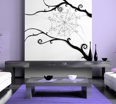 Awesomely Intricate Spider Web - Vinyl Wall Art Decal. $75.00, via Etsy.  Inspiration for painting!