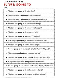 English ​Grammar Discussion Practice Future: Going To, 16 Question Strips. http://www.allthingsgrammar.com/future-going-to.html