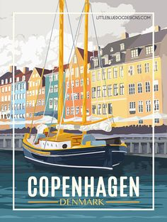 Copenhagen Denmark - Vintage Travel Poster All posters are printed in the country the customer is ba Tourism Poster, Poster S, Print Poster, Vintage Travel Posters, Vintage Postcards, Retro Posters, Movie Posters, Denmark Travel, Photo Vintage