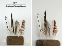 Driftwood Feather Holder - what a great way to display collected feathers.