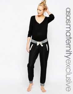 ASOS+Maternity+LOUNGE+Denim+Look+Joggers+With+Contrast+Detail