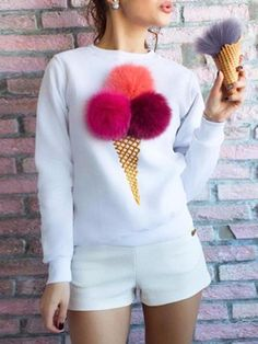 Lovely Ice-Cream Cone with Balls Long Sleeve Pullover Sweatshirt, Fashion Style Hoodies & Sweatshirts Hoodie Sweatshirts, Printed Sweatshirts, Girl Fashion, Fashion Outfits, Fashion Clothes, Womens Fashion, Mode Hijab, Sweatshirt Dress, Jumpers For Women