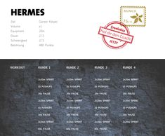 Freeletics Hermes - Workout im Überblick Freeletics Workout, Hermes, Pause, Do Exercise, Body Weight, Fitness Fashion, How To Plan, Aphrodite, Exercises