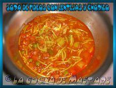 La cocina de Maetiare: Sopa de fideos con lentejas y chorizo
