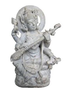 Amazon.com: Saraswati Sculptures Gorara Stone Sculpture Sarasvati Playing Veena Statue: Home & Kitchen