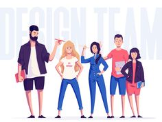 Design Team by Dominik Korolczuk for App'n'roll on Dribbble Abstract Illustration, Flat Design Illustration, Illustration Mode, People Illustration, Digital Illustration, Art Illustrations, Character Design Sketches, Character Design Cartoon, Character Design References